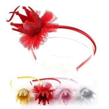 4 color Fashion Little Girls Princess Lace Headbands Cute Crown Headband Children Hair Band Hair Accessories Headwear 2017