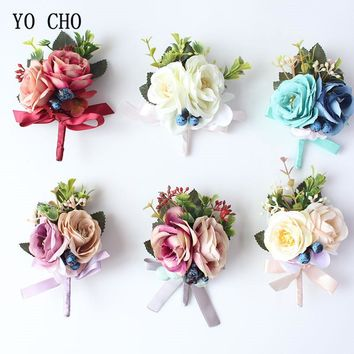 YO CHO Silk Roses Wedding Wrist Corsages Boutonnieres Flowers White Bridal Hand Flowers Groom Man Buttonhole Marriage Supplies A