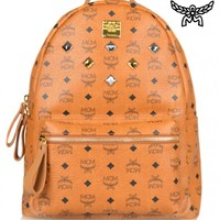 MCM X MICHALSKYSIX STUD LEATHER BACKPACK - COGNAC