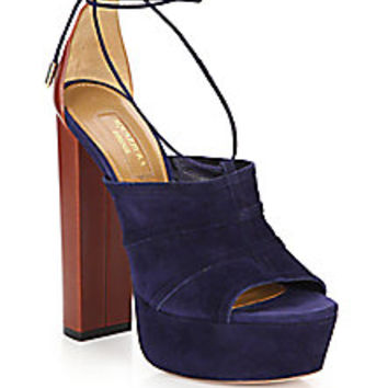 Aquazzura - Very Eugene Suede Ankle-Wrap Sandals - Saks Fifth Avenue Mobile