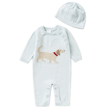 Edgehill Collection Newborn-6 Months Blue Dog Coverall and Hat Set | Dillards
