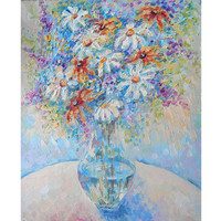 Original Field Flowers in Vase Still Life Oil Painting Wildflower Floral Textured Pastel Artwork Daisy Lilac Dahlia Abstract Wall Decor Art