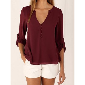 CHIFFON BUTTON-UP V-NECK BLOUSE  WITH 3/4 SLEEVES