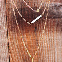 Gold Layering Triple Chain Necklace