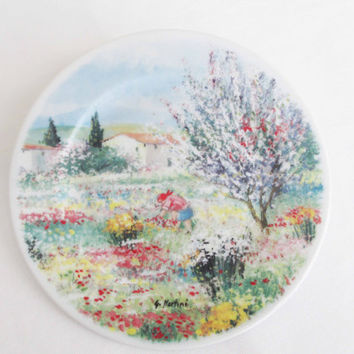 Signs of Spring Easter Limoges China Plate Made in France Handpainted by G. Martini