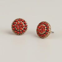 Coral and Gold Round Stud Earrings - World Market