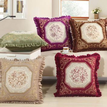 NEW hot 4 colors embroidery pillow Embroidered floral pattern decorative pillows sofa chair seat pad Free shipping A-48