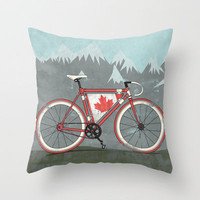Love Bike, Love Canada Throw Pillow by Andy Scullion | Society6