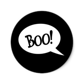 Halloween ghost Boo speech bubble decorative Round Stickers from Zazzle.com