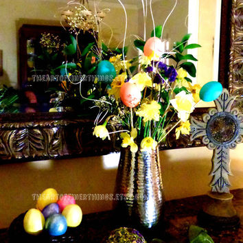 Set of Easter Egg Centerpiece Picks-Easter decor-flower arrangement-swirly glitter sticks-floral picks-real easter eggs-blown eggs