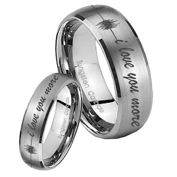 His Her Satin Silver Dome Sound Wave i love you more more Tungsten Carbide Wedding Rings Set