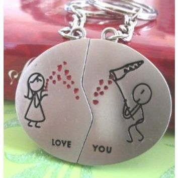 Couple Love Keychain Key Ring Comic Couple: Receiving All Her Love