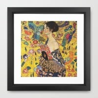 Gustav Klimt Lady With Fan Art Nouveau Painting Framed Art Print by Art Gallery | Society6