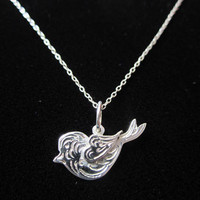 Sterling Silver Singing Bird Charm. Silver Love Bird Necklace. Love Bird Necklace. Silver Bird Pendant with heart wing.