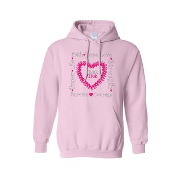 Unisex Pullover Hoodie Breast Cancer Awareness Think Pink Ribbon Support