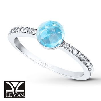 LeVian Topaz Ring 1/10 ct tw Diamonds 14K Vanilla Gold