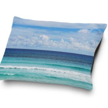Playa Bonita - Pet Bed, Coastal Blue Surf Ombre Style Pet Bedding Decor, Coral Fleece Dog & Cat Pet Pillow Bed Accent. In Small Medium Large