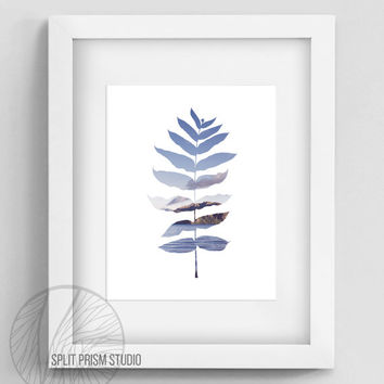 Original Wall Art, Silhouette Art Print, Nature Photography, Modern Wall Art, Purple, Palm Leaf, Leaves, Nature, Mountains, Minimal Design