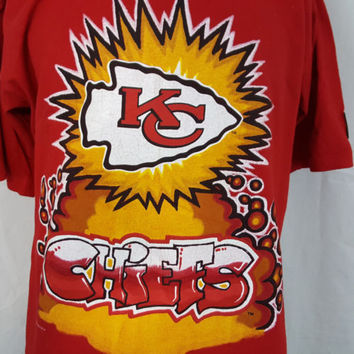 Vintage 1993 Kansas City Chiefs Graffiti Red STARTER NFL Football T-Shirt - L