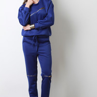 Zipper Pocket Jersey Knit Jogger Pants