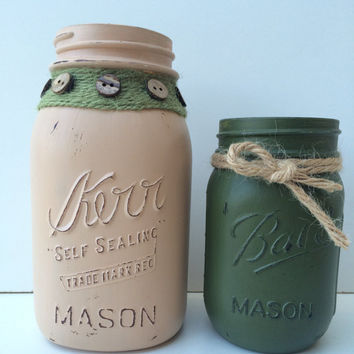 Hand Painted Distressed Mason Jars - Set of Two in Beige and Green with Decorative Buttons - Vase - Home Decor