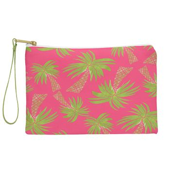Allyson Johnson Summer Palm Trees Pink Pouch