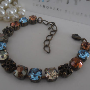Autumn Browns, Swarovski Bracelet OR Necklace, Crystal, 8mm, Filigree, Tennis Bracelet, Multicolor Chatons, SS39, Antique Brass Bracelet