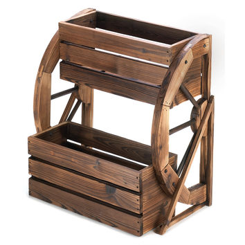 Large Planters, Wooden Outdoor Flower Planters, Wagon Wheel Double-tier Planter