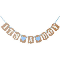 CheckMineOut IT IS A BOY LOVE HEART Paper Garland Bunting Banner Rustic Christening Baby Shower Garland Decoration Birthday Party Favors