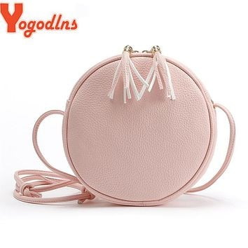 Yogodlns Candy Colors Macarons Biscuit women bags round girls messenger bag Circular leather crossbody bags tassel lady handbags