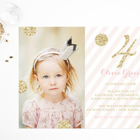 Pink & Gold Glitter Birthday Invitations Printable Princess Birthday Party Invitations