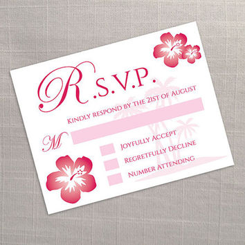 DIY Printable Wedding RSVP Template | Editable MS Word file | 5.5 x 4.25 | Instant Download | Hawaii Dark Coral Pink