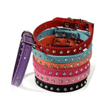 New solid Leather Pet dog Collar