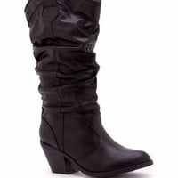 slouchy leatherette cowgirl boot $36.10 in BLACK - Boots | GoJane.com