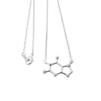 10pcs Charateristic Silver Plated Caffeine Molecule Necklace Dainty Chemistry Elemant Chain Pendant Clavicle Necklace XL138