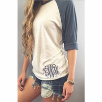 Fashion stitching embroidery T-shirt