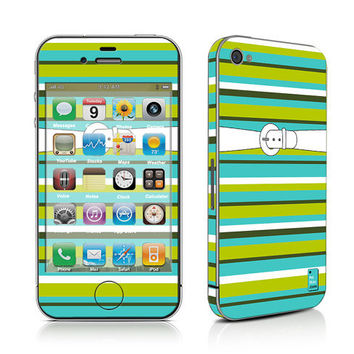 iPhone Decal Sticker, iPhone Cover, iPhone 4, iPhone 4S, PLUS Matching Wallpaper - Outfit No.3 - Trendy Turquoise Stripes Women Teen