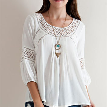 Button Down Back Blouse - Off White