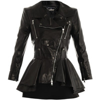 Alexander McQueen Waterfall peplum leather jacket