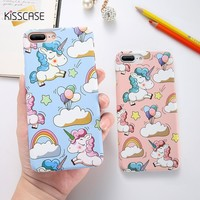 KISSCASE Cute Cartoon Unicorn Phone Case For iPhone 5s 6 7 8 Plus Case Smooth Touch Hard PC Capa Cover For iPhone X Funda Coque