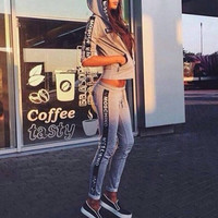 Letter Casual Shirt Top Tee Sweatpants Set Two-Piece Sportswear