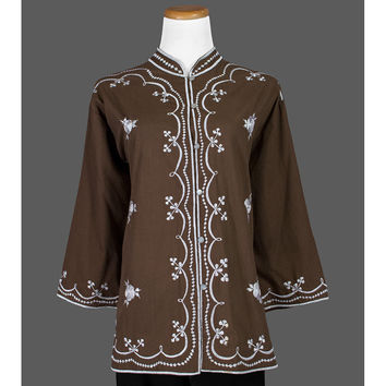 60s Embroidered Top, 1960s Floral Blouse, Bohemian Blouse, Brown Floral Blouse, Asian Style Blouse, Boho Tunic Blouse, XL Plus Size 16