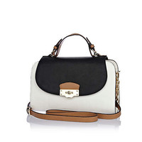 White contrast panel structured satchel bag