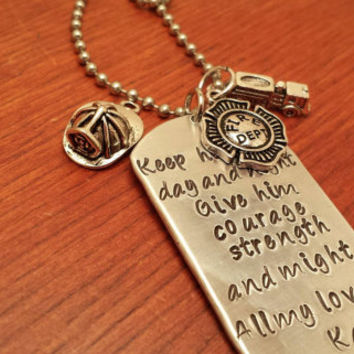 Hand stamped dog tag necklace police/fireman necklace for men or women. Keep him safe day and night