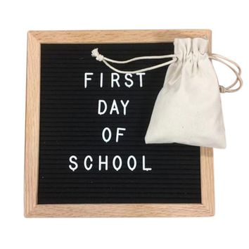 Felt Letter Board 10x10 Inches. Include bag, 680 White Plastic Letterboards Letters Characters, Oak Frame and Easel