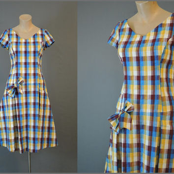 1960s Fitted Drop Waist Plaid Dress with Bow, fits 34 inch bust, Vintage Seersucker Day Dress