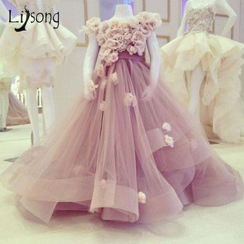 Blush Pink 3D Flower Pageant Dresses For Girls Puffy Organza Ruffles Long Flower Girl Dresses Kids Communion Dresses Ball Gowns