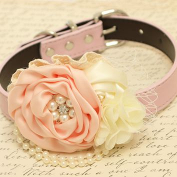 Peach and Ivory Floral dog collar, Dog birthday, Pet wedding Peach and Ivory