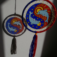 7 inches Yin-Yang Symbol Suncatcher Mobile - Blue and Red Dolphin Window Mandala - Stained Glass Style Wall Decor - Boho Hippie Home Decor