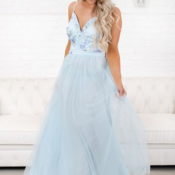 Slow Dancing Tulle Maxi Dress (Baby Blue)